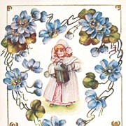 1908 Embossed Gilded Postcard, Little Girl with Watering Can, Heart of Forget-me-nots