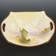 SALE Delicate Hand Painted Nippon Dish, Sailboat on Lake, Mark #47, 1911-1920s