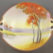 "Vibrant Nippon Hand Painted 7 1/4"" Bowl, Autumn Trees on Lake, Fiery Colors, Beading ..."