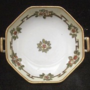 "SALE Lovely Nippon Hand Painted Handled 6 1/4"" Bowl, White, Crimson & Gold Florals, Gold"