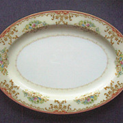 "SALE Large (14 1/2"") Vintage Chatham China Meat Platter, Autumnal Scrolls and Filigree, F"
