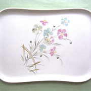 Lovely Porcelain Dresser Tray or Platter with Pastel, Watercolor-like Wildflowers, ca. 1950s