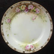 SALE Stylish Nippon Hand Painted 10� Charger, Pastel Peonies, Intricate Gold Filigree and Bead