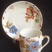 SALE Lovely Vintage Demitasse Cup and Saucer, Gilded Oriental Style Florals in Imari Colors