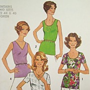 Vintage 1977 Sewing Pattern 'Simple-to-Sew' Simplicity 7911 - Blouses with Various Necklines,