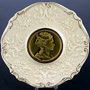 SALE Art Nouveau Villeroy & Boch Majolica Portrait Medallion Plate, 1895-1912