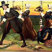 1908 P. Sander Postcard, Pilgrims Gather for Thanksgiving Feast, Turkey on Leash