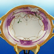 SALE Delightful Nippon Handled Bowl, White Doves on Branches in Lavender Landscape, Gilded Cha