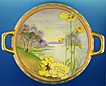 Exquisite Hand Painted Nippon Handled Bowl, Lake Scene with Swans & Yellow Poppies,Gilding,Beading, Early 1900s