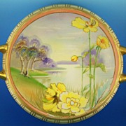 SALE Exquisite Hand Painted Nippon Handled Bowl, Lake Scene with Swans & Yellow Poppies,Gildin