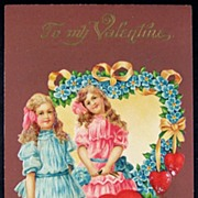 SALE Early 1900s Embossed Gilded Chromo Postcard, Victorian Girls with Wagon of Hearts, Forget