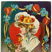 "SALE Early 1900s Embossed Gilded Gel Postcard, Cupid Sings ""Songs of Love"" to Lovely"