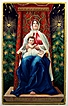 1911 Embossed Gilded Postcard, Madonna as Queen of Heaven with Baby Jesus, Christmas Trees, Lots of Stars & Gilding, Canadian Stamp