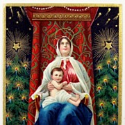 1911 Embossed Gilded Postcard, Madonna as Queen of Heaven with Baby Jesus, Christmas Trees, Lo