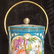 Vintage Decorative Tin Canister with Handle, Renaissance Ladies Enjoy Palace Gardens within Si