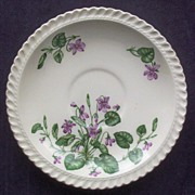 "Set of Six Harker Royal Gadroon 6 1/2"" Saucers, Lots of Violets,1948-63"