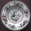 Antique Ashworth Ironstone Transferware 7 1/2&quot; Bowl, Oriental Vases & Florals, 1862-1890