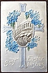 1916 Deeply Embossed Heavy Stock A.M.B. Postcard, Greek Temple, Silver Cross, Forget-me-nots