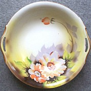 "SALE Beautiful Hand Painted Early Noritake 10"" Pierced Handle Bowl, Watercolor Poppies, L"