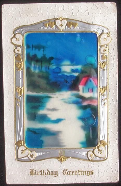 Rare 1910 Embossed Gilded Silvered Cellophane Postcard, Ornately Framed Inset of Cabin on Moonlit Lake