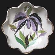 Beautiful Vintage Italian Handpainted Bowl, Impressionistic Purple Orchid, ca. 1960s