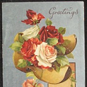 1910 Silvered B.B. (Birn Bros.) London Litho Postcard, Dutch Clogs Overflowing with Red, White
