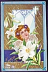 Gorgeous 1911 Embossed Gilded Winsch Postcard, Cherubim in Lilies, Heaven's Light Through Cathedral Window