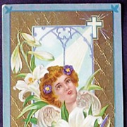 Gorgeous 1911 Embossed Gilded Winsch Postcard, Cherubim in Lilies, Heaven's Light Through Cath