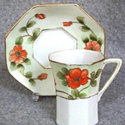 SALE Lovely Nippon Octagonal Chocolate Cup and Saucer Set, Gilded Poppies, early 1900s
