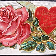 SALE 1910 Embossed Gilded Postcard, Luscious Pink Rose and Red Heart