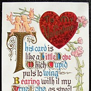 SALE Early 1900s Embossed Gilded Motto Postcard, Fancy Lettered Love Verse, Cupids, Doves, ...