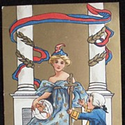 1910 Embossed Gilded HBG (H. B. Griggs) Postcard, Personification of the USA & Columbia's ...