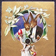 1910 Embossed Gilded Postcard, Flower Girl Gives Painted Egg to Rabbits Dressed in Tuxedo & Ba