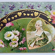 1910 Embossed Gilded Winsch Postcard, Ornate Field of Flowers, Georgian Lady & Fan, Lots of Gi