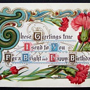 1912 Gilded Embossed Motto Postcard, Illuminated Script, Fancy Scrollwork, Pink & Red Carnatio