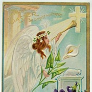 1911 Embossed Gilded Postcard, Lovely Angel with Trumpet in Heavenly Palace, Lily & Violets