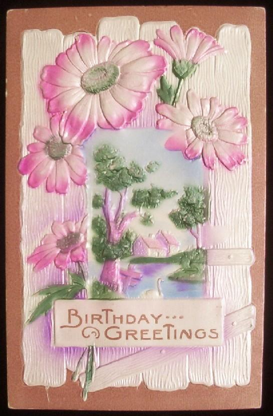 1911 Deeply Embossed Textured Airbrushed Postcard, View of Quaint Cottage through Picket Fence, Pink Daisies