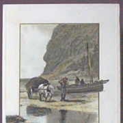 1913 Winsch Postcard, Fishermen Unload Boat, Horse & Wagon Loaded with Peat