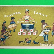 """Universal Family Soapine"" Trade Card, Kendall Mfg. Co., 1880s-90s"