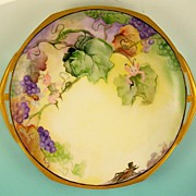 Whimsical Hand Painted Cake Plate, Elves, Bee, Grasshopper in Grape Vines, 1891-1917