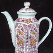Vintage Ridgway Red Transferware Ironstone Coffee Pot, Canterbury Pattern, Botanical Florals