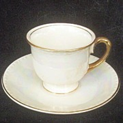 Vintage Homer Laughlin Demitasse Set, Georgian Eggshell with Gilded Trim and Beaded Rim, 1948