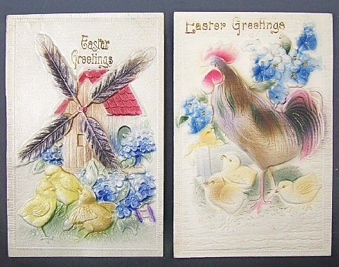 Pair of Deeply Embossed Easter Postcards, Windmill, Rooster, Chicks, Blue Forget-me-nots