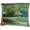 "Original Painting, Oil on Canvas by H.L.Kent, ""Vizcaya Gardens"", Mid 20th Century"