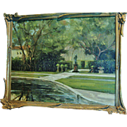 "REDUCED Original Painting, Oil on Canvas by H.L.Kent, ""Vizcaya Gardens"", Mid 20th Ce"