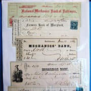 SALE Collection of 5 Antique Bank Checks, Baltimore Banks