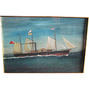 SALE Antique Gouache Painting of a Sidewheel Schooner, Dated 1860