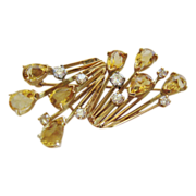 14kt Gold Pin with Diamonds & Citrines, CA.1960's
