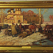 SALE Original Russian Oil Painting on Canvas,Spring Landscape with People,Horses,Church,CA.194
