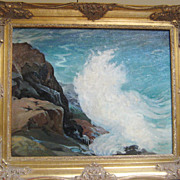 "SALE Original Oil on Canvas Painting, ""Crashing Waves"", by Ruthven Byrum, Indiana Ar"